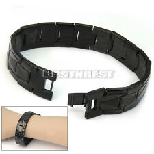 Black Stainless Steel Cross Bracelet Bangle Cuff Link Chain Men's Jewelry Cool