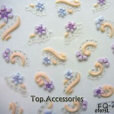 3D Nail Art Lace Stickers Decals Transfers Pastel Flowers Floral #775L Free P&P