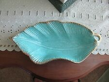 Mid-Century Atomic Pottery Splatter Art Gold Turquoise Leaf Candy/Nut dish