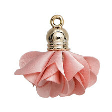Pack of 5 Pink Flower Tassel Pendants Gold Plated Tassel Charms