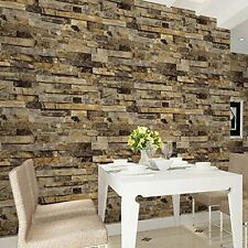 Wallpaper Brick Stone Wall Blocks 3D Stick Peel Film Contact Paper Roll Yellow