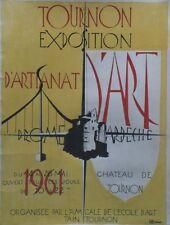 """""""EXPO ARTISANAT d'ART TOURNON 1961""""Maquette gouache s/papier entoilée R. LAFFONT"""