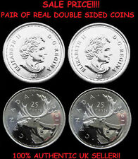 Pair of Real Double Sided Canadian Quarters 1 Two Headed and 1 Two Tailed Coin