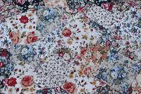 """50 x 4"""" 100% Cotton Floral Fabric Remnant Bundle patchwork squares~ Quilting"""