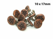 """10 x 17mm (43/64"""") Hammer On No Sew Jean Stud Buttons with Pins, Bronze, Premium"""