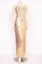 ORIGINAL VINTAGE 1980's 80's GOLD SEQUINS LONG EVENING PARTY PROM DRESS! UK 10