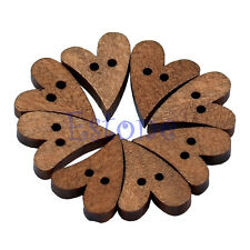 100 PCS 20Mm Heart Shape Brown Wood Wooden Sewing Button Craft Scrapbooking