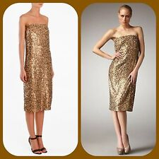 new $680 TIBI GOLD SEQUIN petali STRAPLESS VALENTINES cocktail DRESS 2 XS (FL