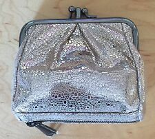 Nwt Women's Hobo International Leather Coin Purse Wallet, Minnie Platinum Exotic