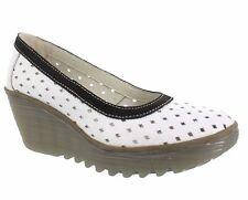 FLY LONDON SHOES YEO PERFORATED WEDGE PUMP WHITE PATENT BLACK TRIM 38 7.5 $185