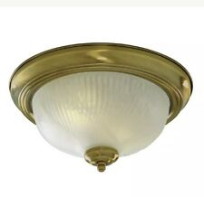 Searchlight 7622-11AB Antique Brass Flush Light With Opal Glass Diffuser