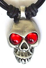 SKULL RED EYES BIKER GOTHIC METAL ROCK PEWTER PENDANT MENS BOYS NECKLACE   P0531