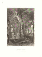 1841 Print of YOUNGHALL ABBEY - HOME of SIR WALTER RALEIGH- County CORK, IRELAND