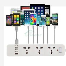 7 Way Charging Station Extention 3 Mains Socket Outlet & 4 USB Charger Ports Hub