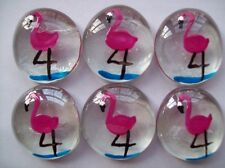 GLASS GEMS Large  HP HAND PAINTED PARTY FAVORS  pink flamingos flamingo