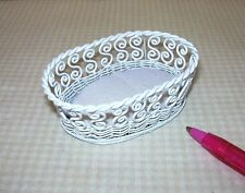 Miniature Oval White Wire Dog Cat Pet Bed with Cream Cushion: DOLLHOUSE 1/12