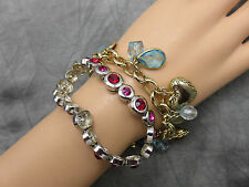 Cookie Lee Set of 2 Bracelets Gold Heart Charm and Silver Red Rhinestone 343g