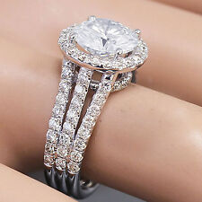 14K WHITE GOLD ROUND DIAMOND FOREVER ONE MOISSANITE AND ENGAGEMENT RING 2.60CT