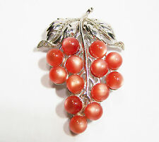 Vintage Coral Moonglow Lucite Grape Bunch Fur Dress Clip Rhinestones 1015D
