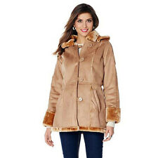 Sporto Basic Coat M Faux Suede Shearling Hooded Coat Tan NEW