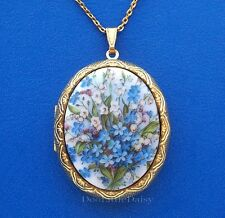 Porcelain LILY of the VALLEY/BLUE FORGET ME NOTS CAMEO Locket Necklace Birthday