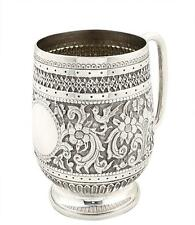 ANTIQUE VICTORIAN STERLING SILVER MUG/TANKARD - 1880 - BIRDS