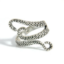 Vintage Steampunk Stainless Steel Adjustable Octopus Finger Open Ring Jewelry