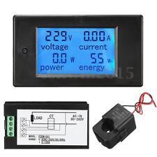 AC80-260V 100A LCD Digital Amp Voltage Current Power Meter Ammeter Voltmeter +CT