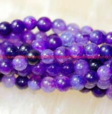 "Natural 4mm purple Dragon Veins Agate Gems Round Loose Beads 15"" AAA"
