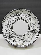 Festin Coquin Large Black White Floral France Provence Art Pottery Lunch Plate