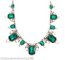 GREEN CLEAR WHITE CRYSTAL RHINESTONE Silver Art Deco Pendant Statement Necklace