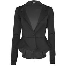 Womens Plus Size Long Sleeve Flared Waist Blazer Peplum Skater Jacket 18-26