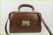 VINTAGE Sac Simili Cuir Rigide Marron Main Bandoulière TBE