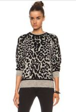 IRO Mohair Blend Black & Gray Leopard Print Swan Sweater Sz Small