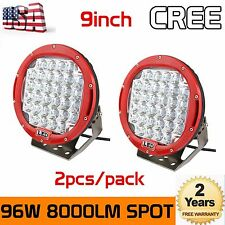 2pcs 9inch 96W Round Cree LED Driving Spot Lights UTV TRUCK 4x4 OffRoad Watts