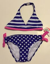 Malibu Dream Girl Bikini Swimsuit Purple Pink White Stripe Dot Reversible Top 16