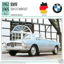BMV 3200 CS CABRIOLET 1962 1965 CAR VOITURE GERMANY DEUTSCHLAND CARTE CARD FICHE