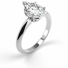 1.50 Carat Pear Shaped Diamond Engagement Ring D VVS1 14K Solid Real White Gold