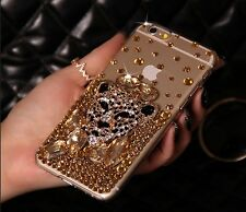 For Apple iphone7 PLUS 5.5' Golden transparent Leopard  head Case cover E5318