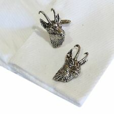 English Pewter Goats Head Cufflinks. Chamois Gams. Xmas Gift New (ref Ca50)