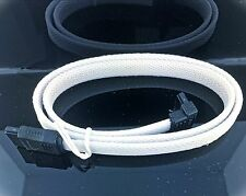 "LOT OF 2 Premium White Braided Nylon 20"" Serial ATA SATA 6GBs DATA Cable"