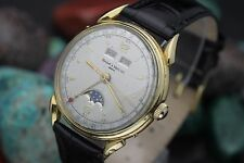 Vintage BAUME & MERCIER Geneve Triple Date Moon-Phase Valjoux 90 18K Gold Watch