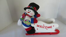 Christmas Welcome Decoration Plush Snowman on Wood Sleigh NEW