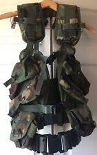 USGI MILITARY Enhanced TACTICAL LOAD BEARING VEST BDU Woodland Camo NEW W/ BELT