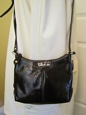 Coach Ashley Dark Brown Patent Leather Swingpack Crossbody Bag
