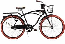 "New 26"" Huffy Nel Lusso vintage Men's Cruiser Bike Black Beach Bicycle"