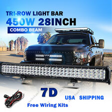 "28"" Tri-Row CREE 450W LED Light Bar Combo Beam Offroad Boat Driving Lamp 4W"