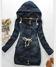 2016 spring womens girls denim hoody long jacket coat trench parkas outwear