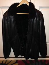 Leather And Mink Jacket  Black Reversible Women's Xs