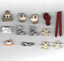 Novelty Button-Ski Trip-Hat/Skis/Mittens/Boots/Snowflake/Jet/Coffee Cup-13 Pcs